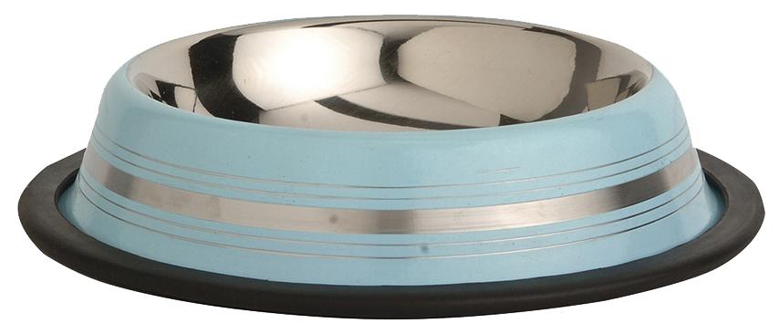 Одинарная миска для кошек и собак Beeztees сталь серебристый голубой 0.18 л.