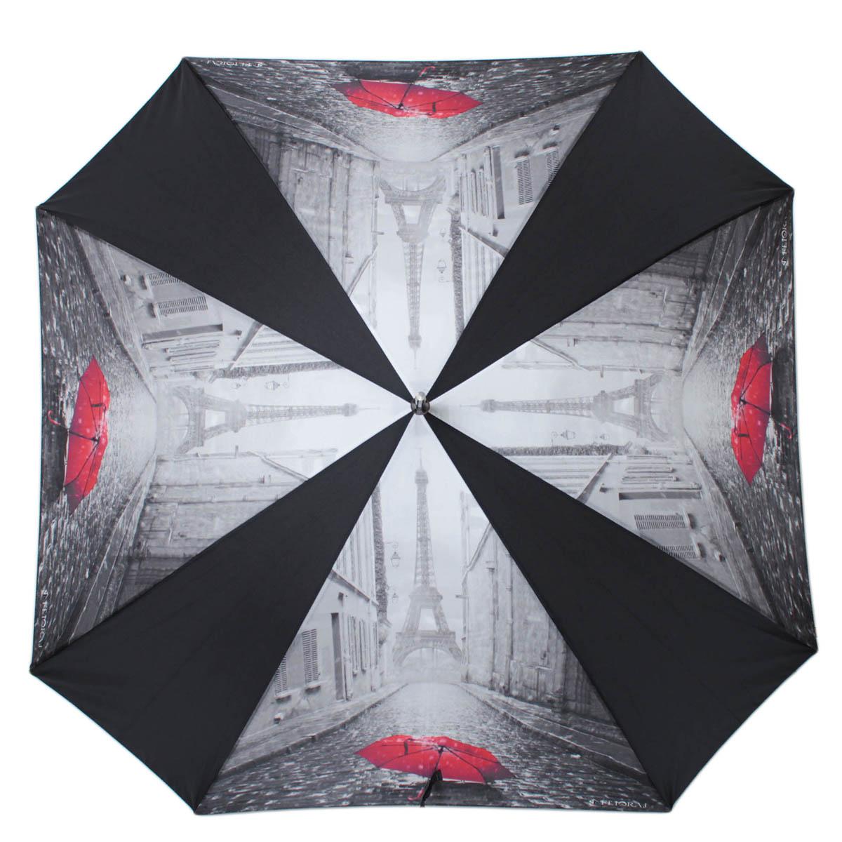 Зонт-трость женский полуавтоматический Flioraj 290403 FJ черный