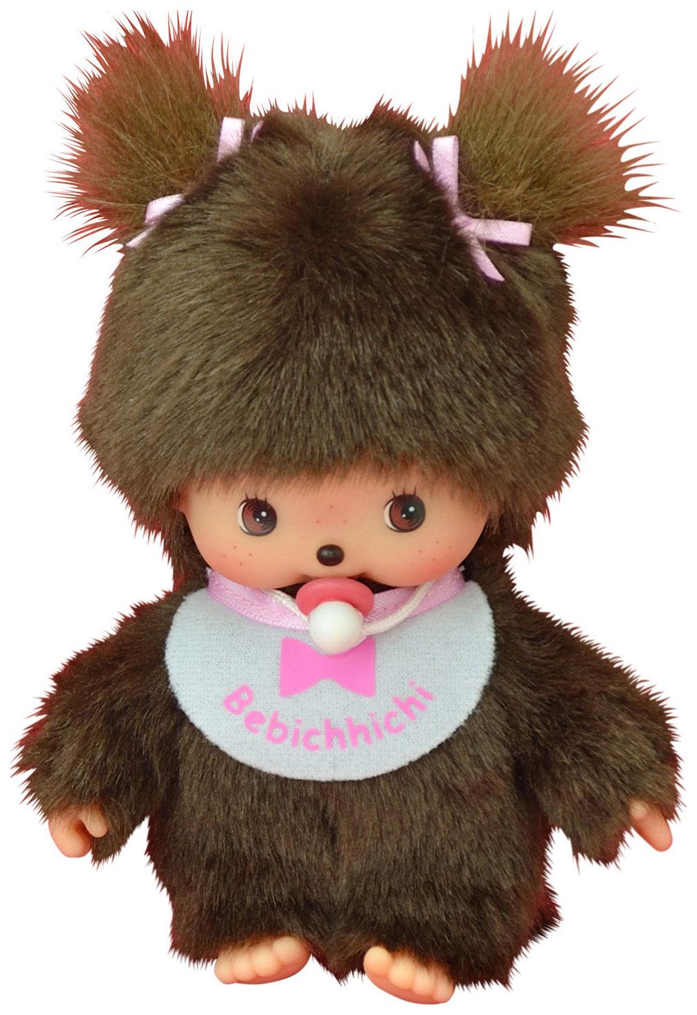 Купить Мягкая игрушка Bebichhichi Девочка в розовом слюнявчике 15 см, Monchhichi, Куклы