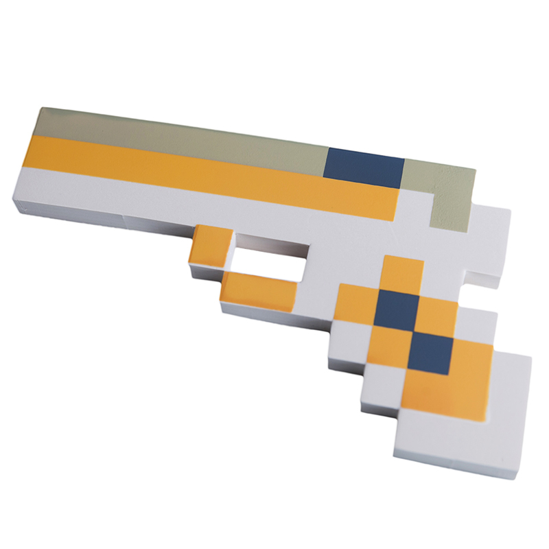 Купить Пистолет 8Бит Pixel Crew Оранжевый пиксельный 22см, Мечи, кинжалы и копья