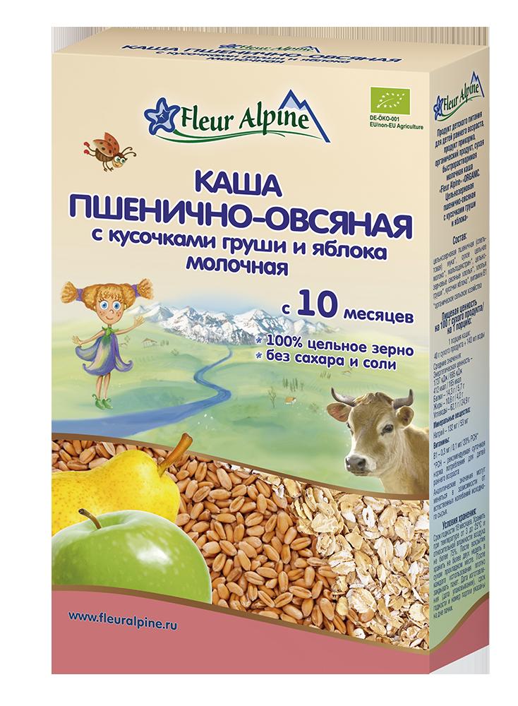 Каша молочная Fleur Alpine Органик пшенично-овсяная Груша-Яблоко, 10 мес, 200/6