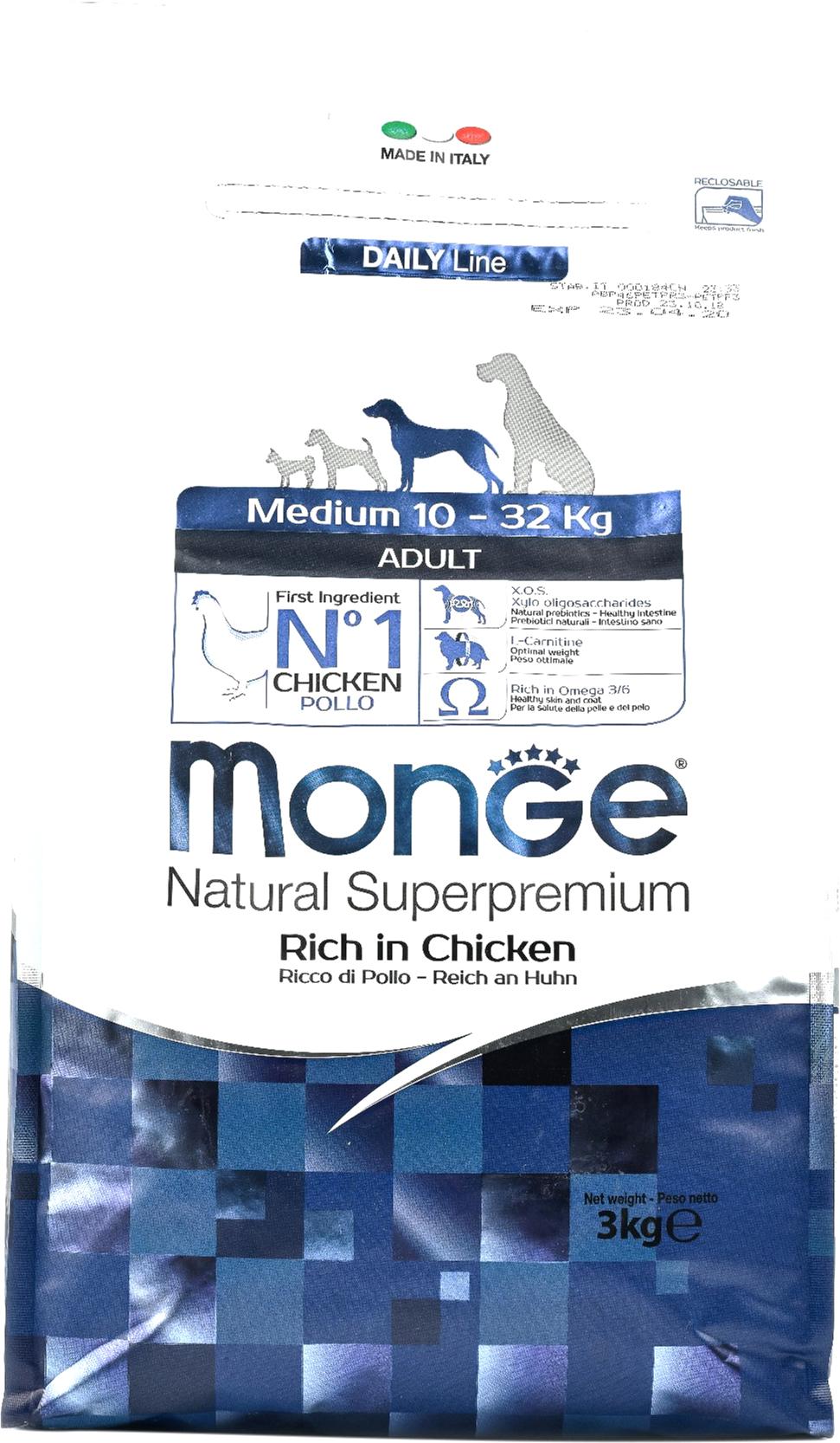 Сухой корм для собак Monge Medium, для средних пород, курица, 3кг