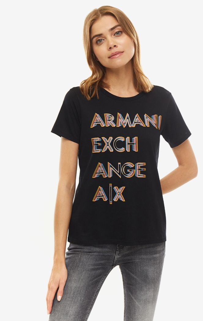 Футболка женская Armani Exchange 1770221 черная/разноцветная S фото