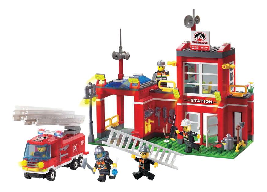 Купить Пожарная станция, Конструктор пластиковый Enlighten Brick Fire Control Branch Bureau, Конструкторы пластмассовые