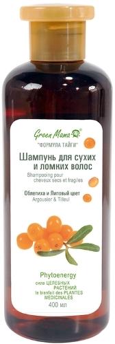 Шампунь GREEN MAMA Облепиха и липовый цвет, для сухих и ломких волос, 400мл.