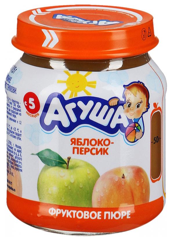 Купить Яблоко-персик 115 г, Пюре фруктовое Агуша Яблоко-персик с 5 мес 115 г, Детское пюре