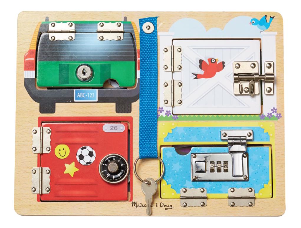 Купить Деревянная игрушка для малышей Доска с замочками Melissa and Doug, Melissa & Doug, Развивающие игрушки
