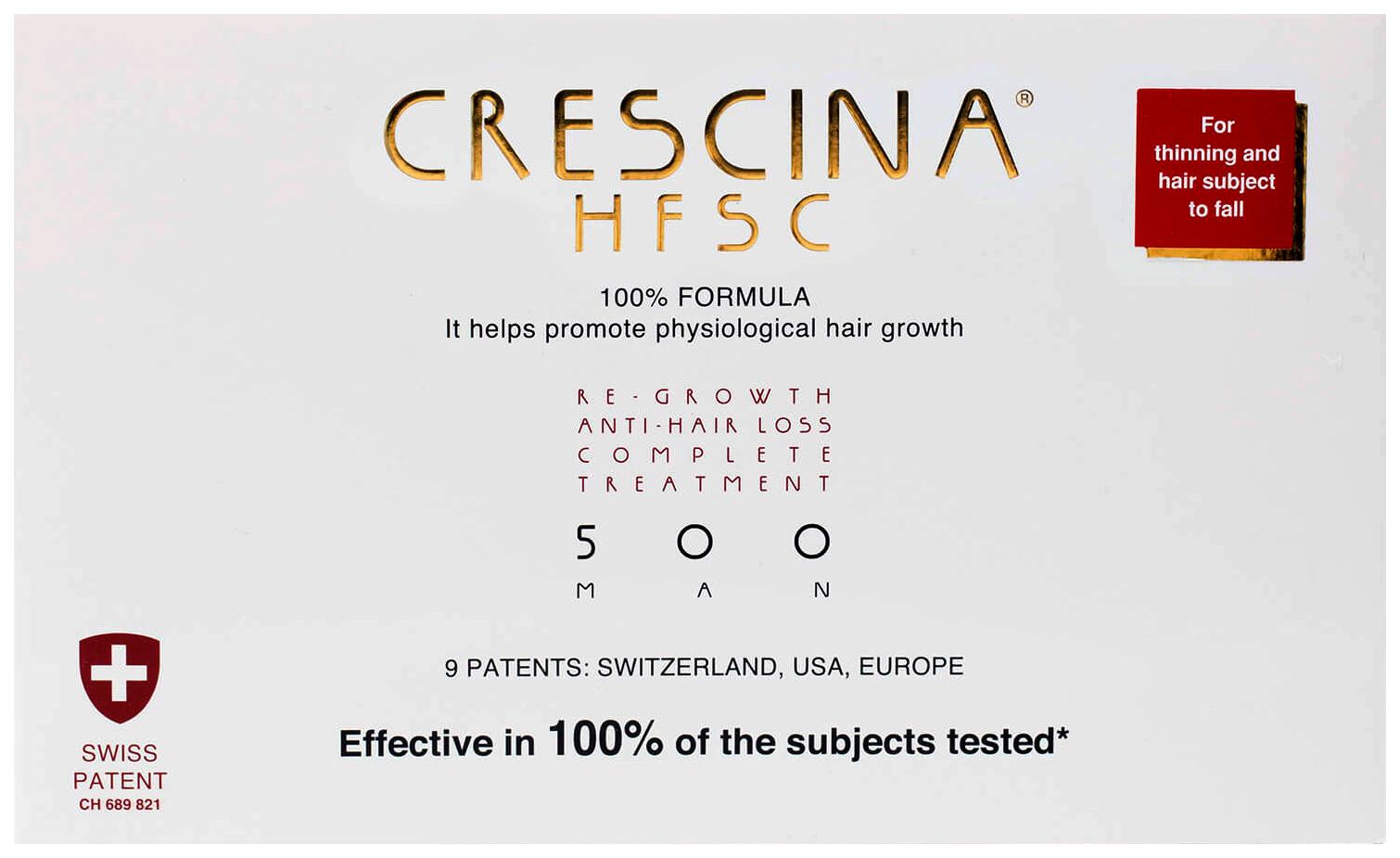 Купить Ампулы для волос Crescina 500 для стимулирования роста волос для мужчин №10+лосьон, Комплекс 500 HFSC 100% для стимулирования роста волос для мужчин