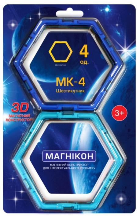 Конструктор магнитный Магникон Шестиугольник МК-4-6У