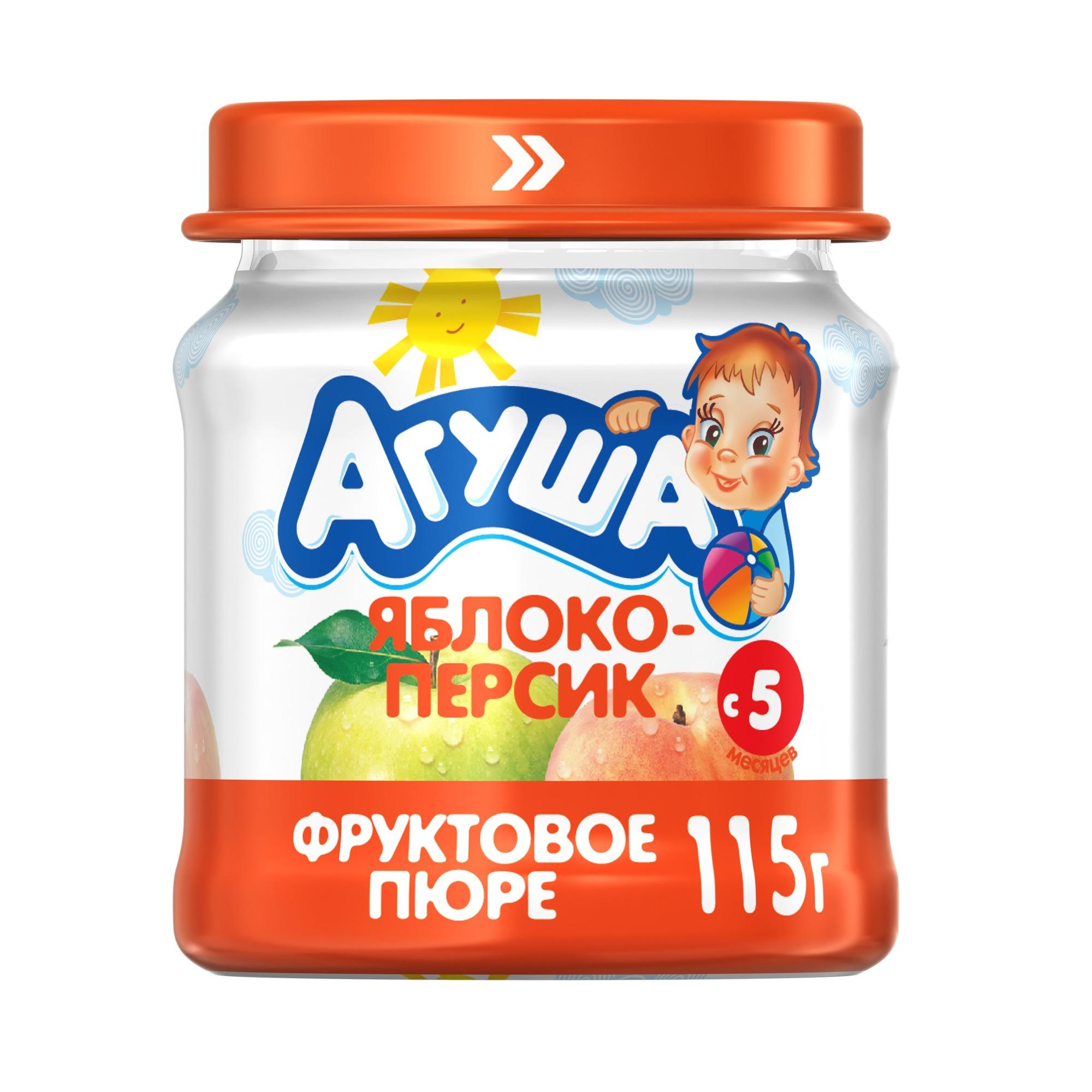 Купить Пюре фруктовое Агуша Яблоко-персик с 5 мес. 115 г, Фруктовое пюре