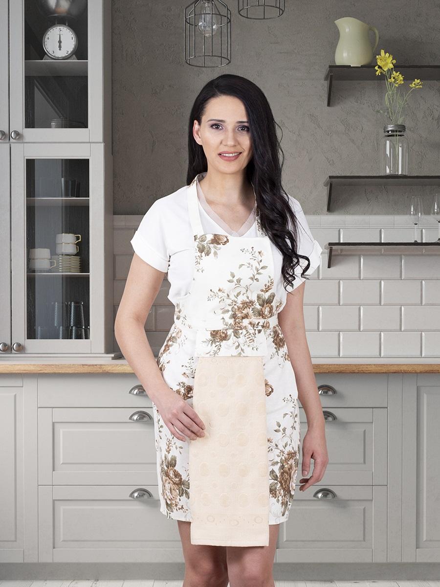 Фартук кухонный KARNA с салфеткой из велюра 30x50 см Бежевый