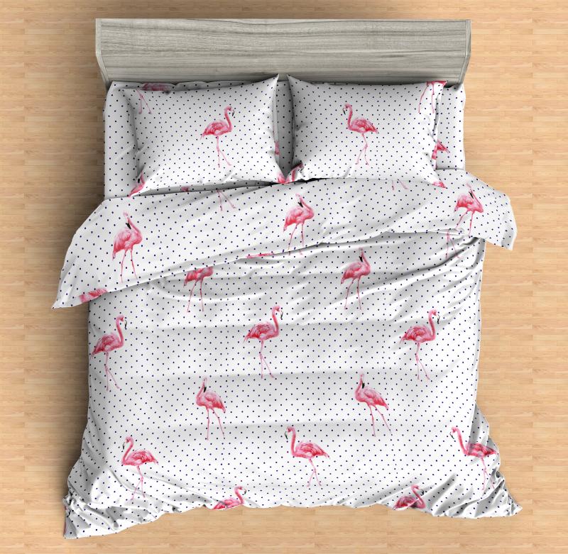 Постельное бельё Amore Mio Мако-сатин Flamingo W Микрофибра Евро
