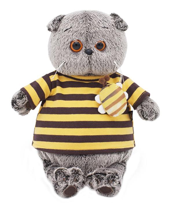 Мягкая игрушка BUDI BASA Басик в полосатой футболке с пчелой, 25 см фото