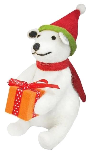 Фигурка Новогодняя сказка Мишка с подарком