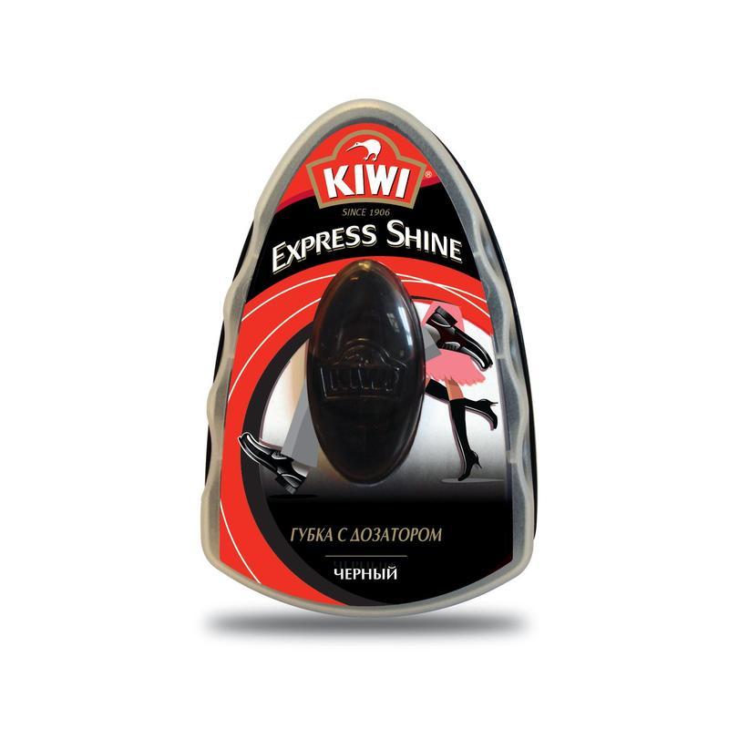 Губка для обуви с дозатором Kiwi черная