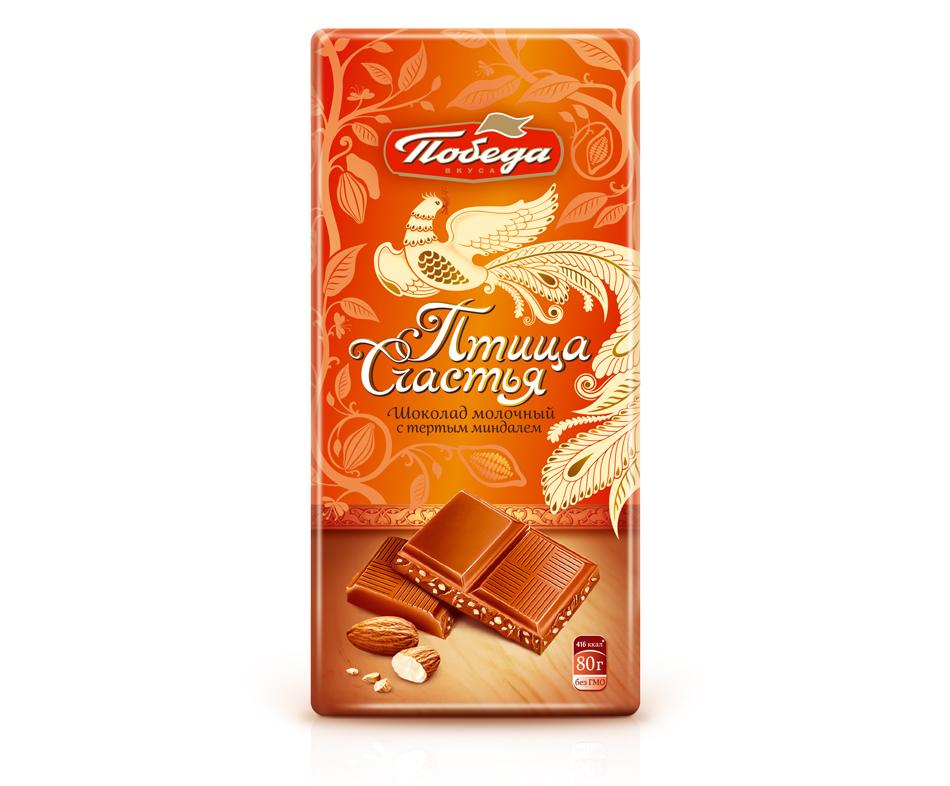 Шоколад Победа Вкуса молочный с тертым миндалем Птица Счастья фото