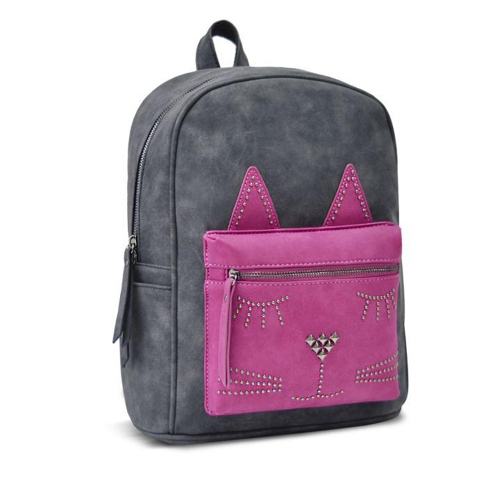 Рюкзак Феникс+ Графитовый с розовым котом фото