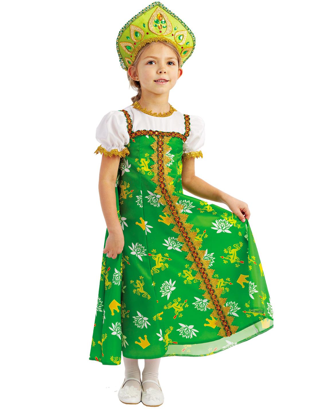Купить 1053, Карнавальный костюм Батик Царевна-Лягушка, цв. зеленый р.134,