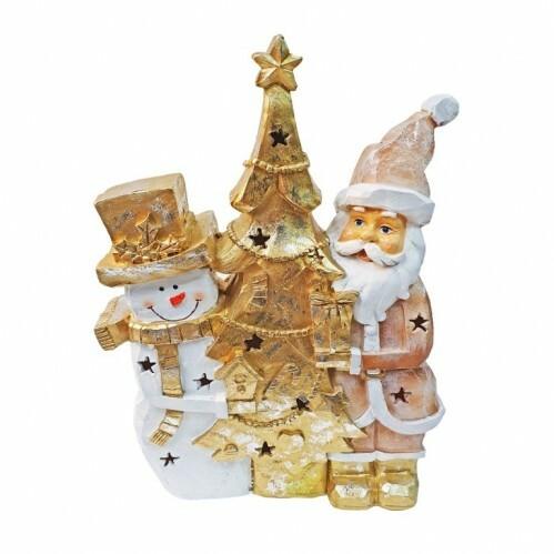 Фигурка светильник Дед мороз с елочкой
