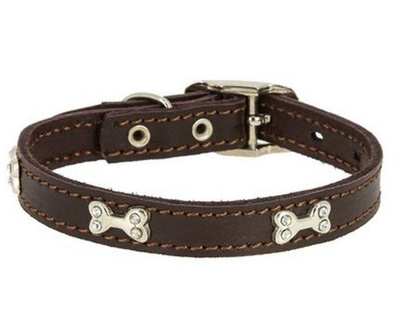Ошейник Каскад Флер кожаный с украшением Косточка коричневый для собак 20ммх30-38см