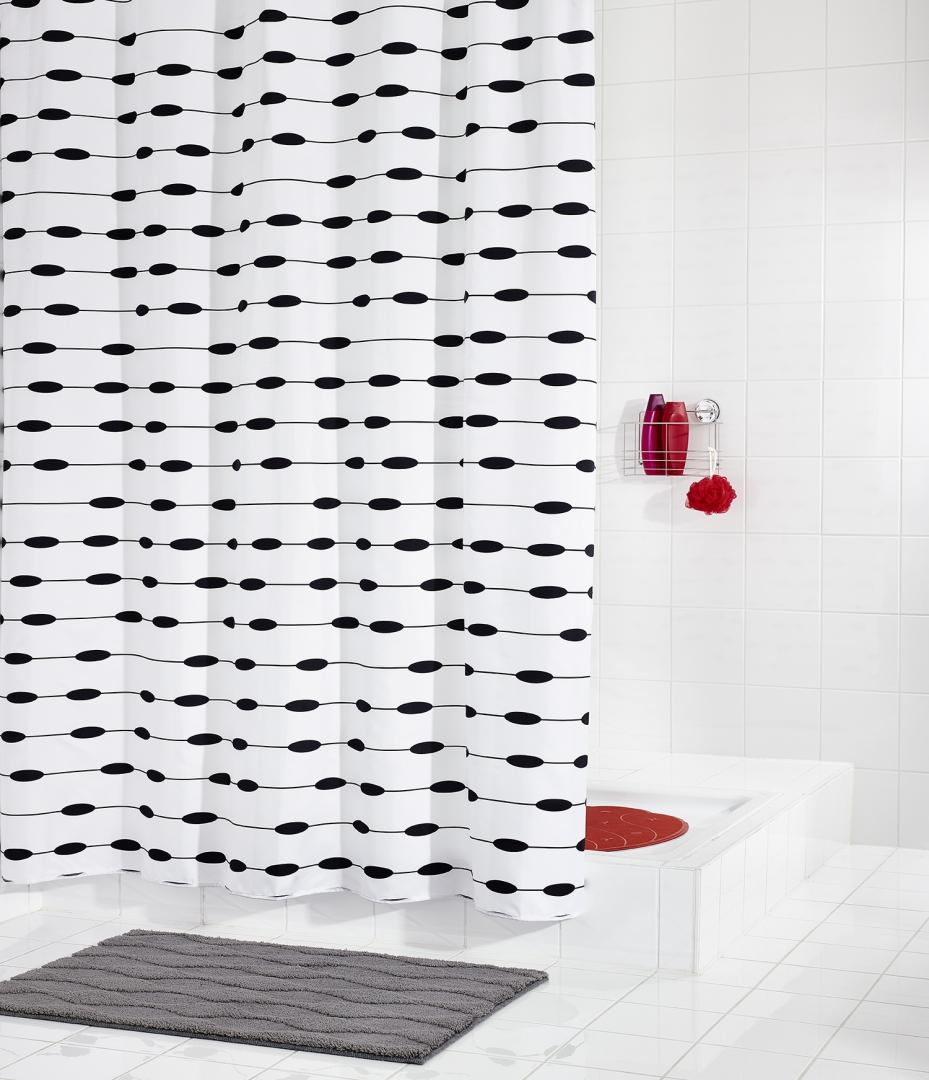 Штора для ванных комнат Lace белый/черный 180Х200
