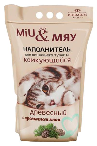 Комкующийся наполнитель туалета для кошек Miu#and#Мяу древесный с натуральным ароматом Хвои 5л