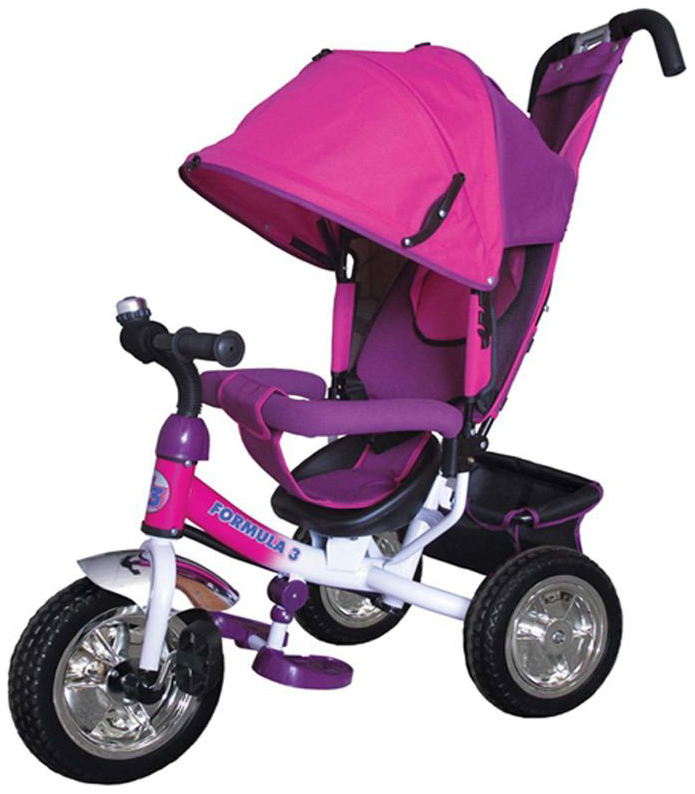 Купить 3 F3P, Велосипед детский трехколесный Formula 3 с ручкой управления Розовый, Детские велосипеды-коляски