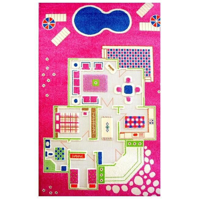 Детский игровой 3D-ковер Домик, розовый, 100 х 200 см