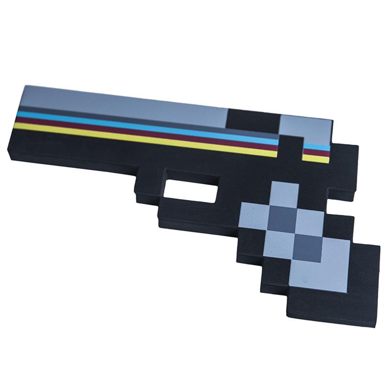 Купить Пистолет 8Бит Pixel Crew Черный пиксельный 22см, Мечи, кинжалы и копья