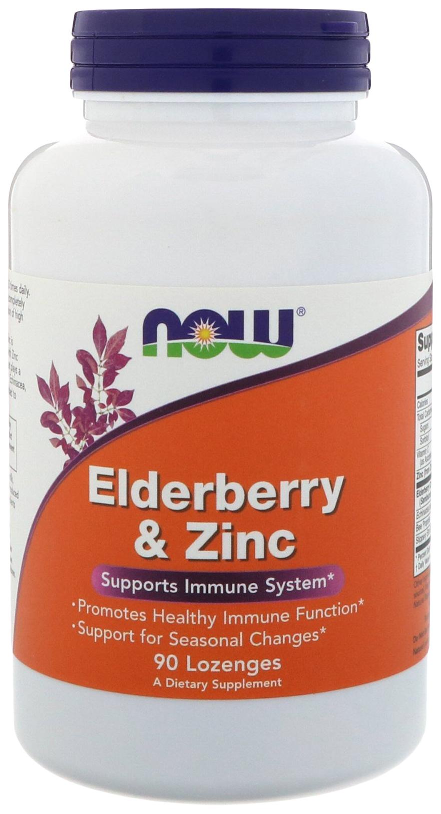 Купить Добавка для иммунитета NOW Elderberry&Zinc 90 табл. бузина