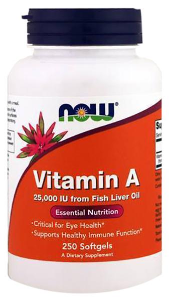 Vitamin A, Витамин A NOW 25000 Iu 250 гелевых капсул  - купить со скидкой