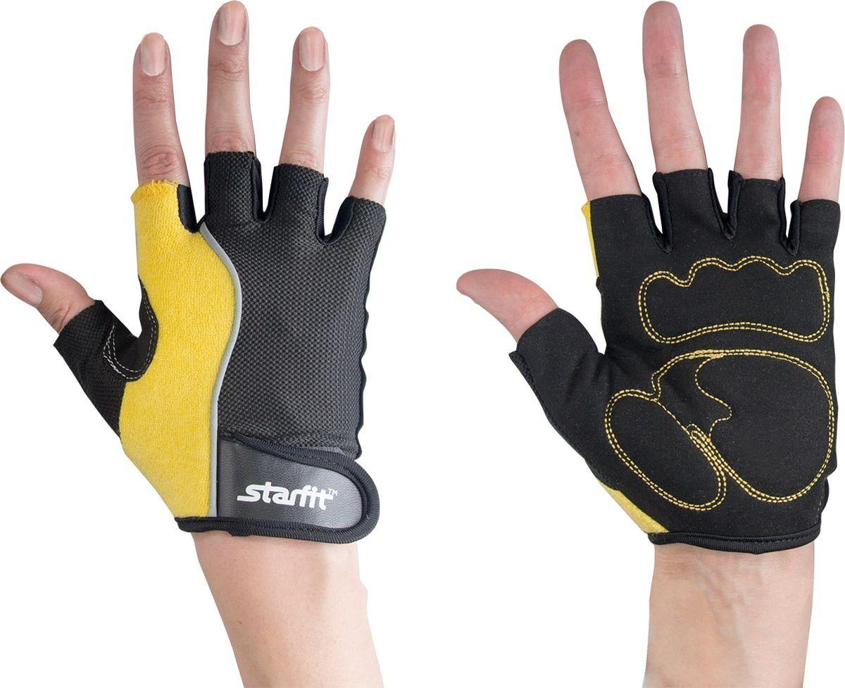 Перчатки для фитнеса StarFit SU 108, черные/желтые,