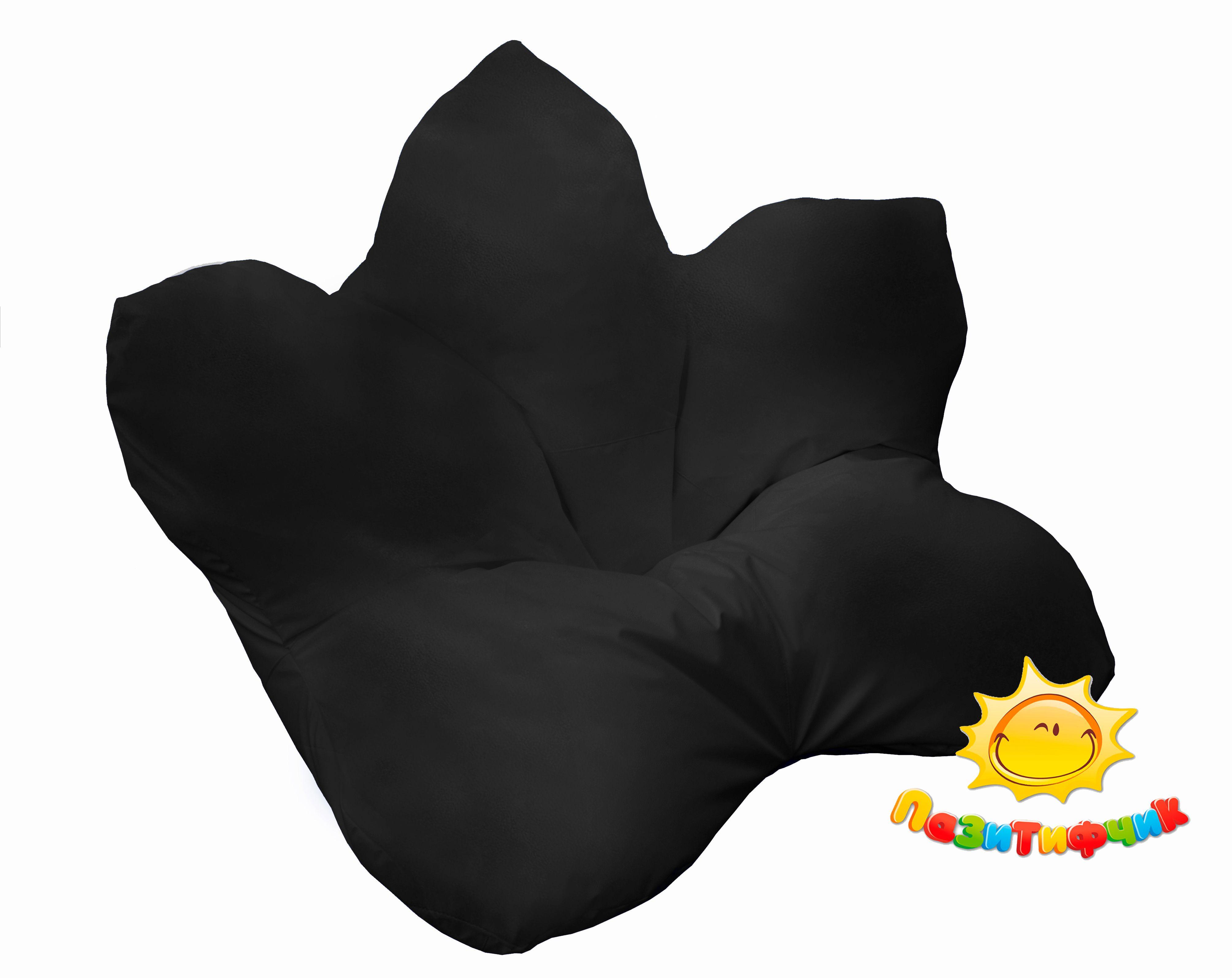 Кресло-мешок Pazitif Цветок Пазитифчик, размер XXXL, экокожа, черный фото