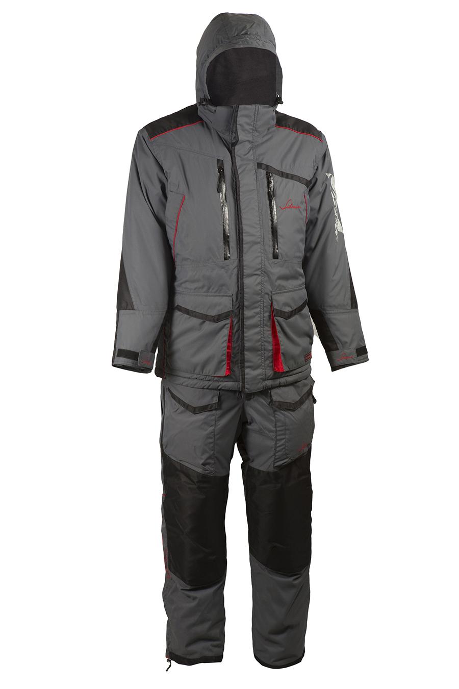 Костюм для рыбалки Huntsman Siberia, серый/черный, 44-46 RU, 166-174 см фото
