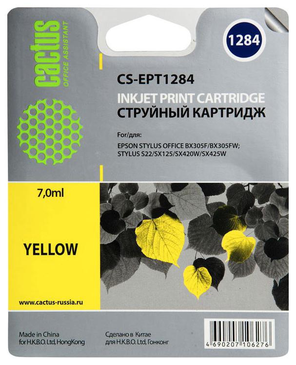 Картридж для струйного принтера Cactus CS-EPT1284 желтый