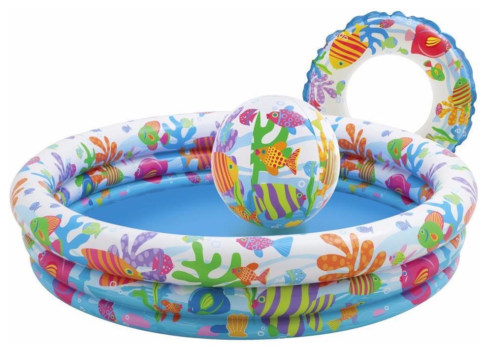 Купить Рыбки, Бассейн надувной INTEX Аквариум с надувным мячом и кругом 132х28 см (59469), Детские бассейны