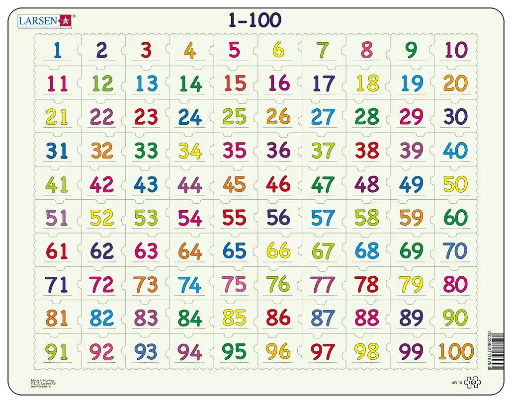 Математика 1-100, Пазлы Larsen обучающий Математика От 1 до 100 100 элементов AR10  - купить со скидкой
