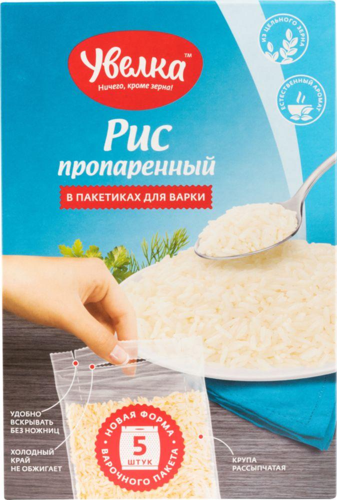 Рис Увелка пропаренный 80 г 5 пакетиков фото