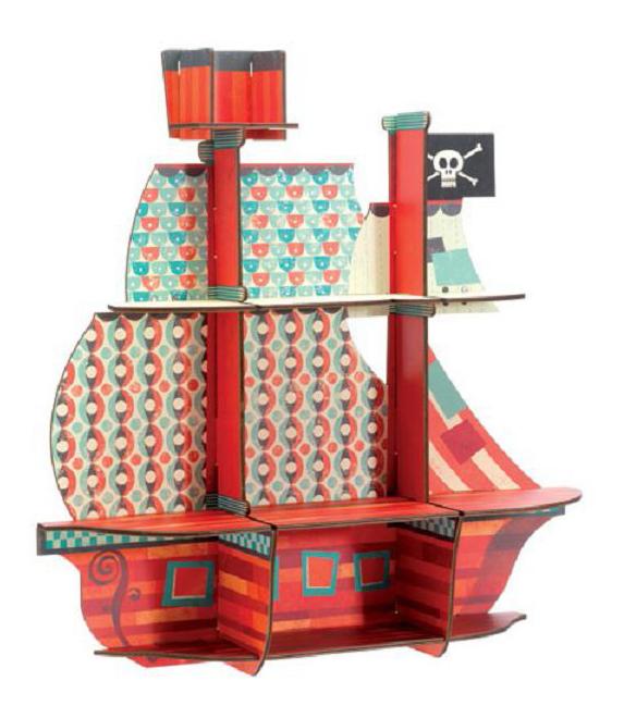 Купить Деревянная игрушка для малышей Djeco Пиратский корабль, Пазлы для малышей