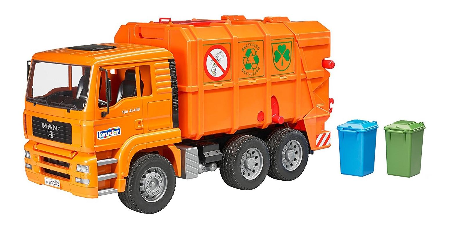 Купить Мусоровоз MAN TGA оранжевый Bruder (Германия) 02-760, Игрушечный транспорт Bruder