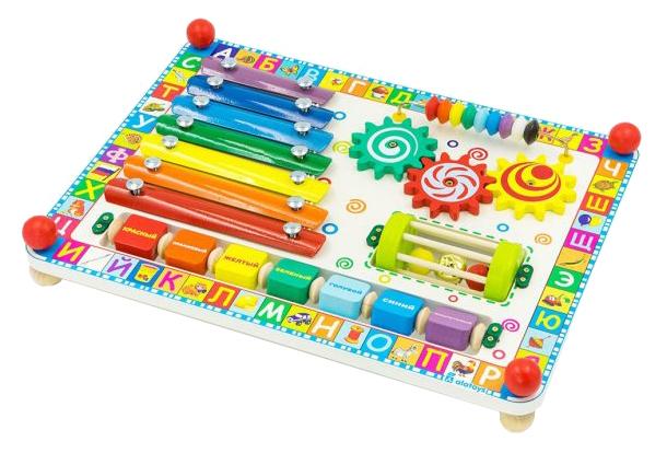 Развивающая игрушка Alatoys Бизиборд Веселая радуга