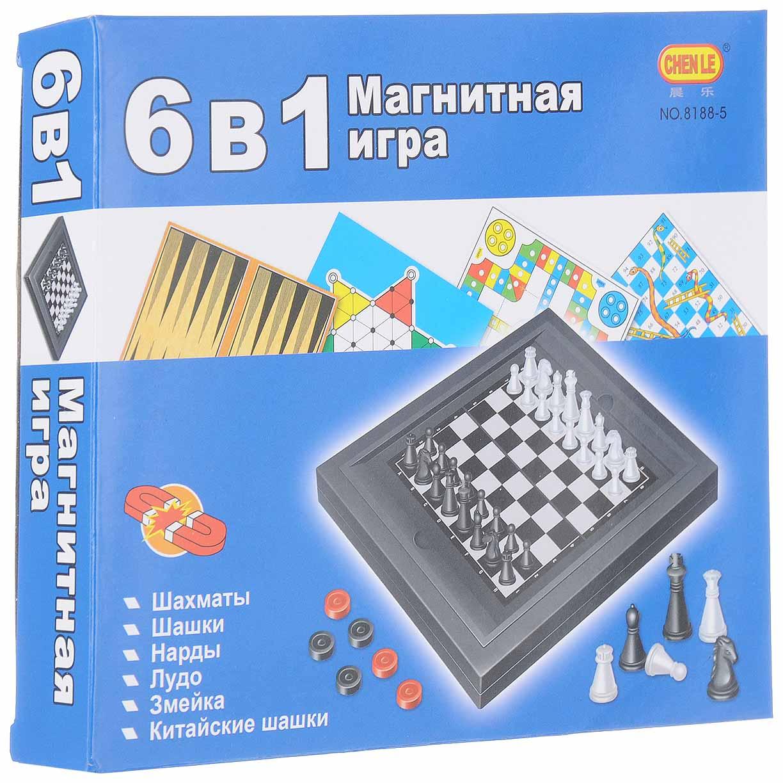 Игра настольная магнитная 6в1 (шахматы, шашки, нарды,