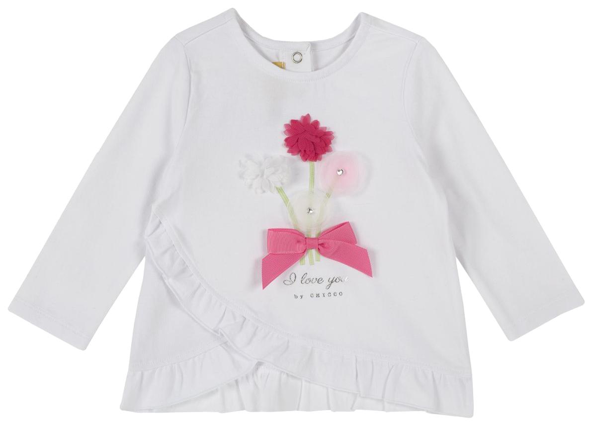 Купить 100873-M, Лонгслив Chicco, размер 086, бант с цветами (бело-розовый), Кофточки, футболки для новорожденных
