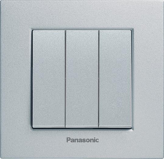 Выключатель 3кл серебро Karre Plus