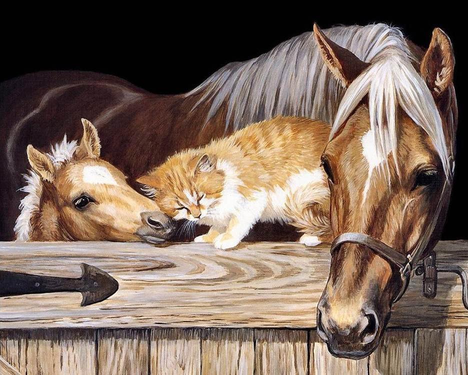 """Алмазная вышивка Алмазное Хобби """"Лошадь, жеребенок и рыжий кот"""", 40x50 см"""