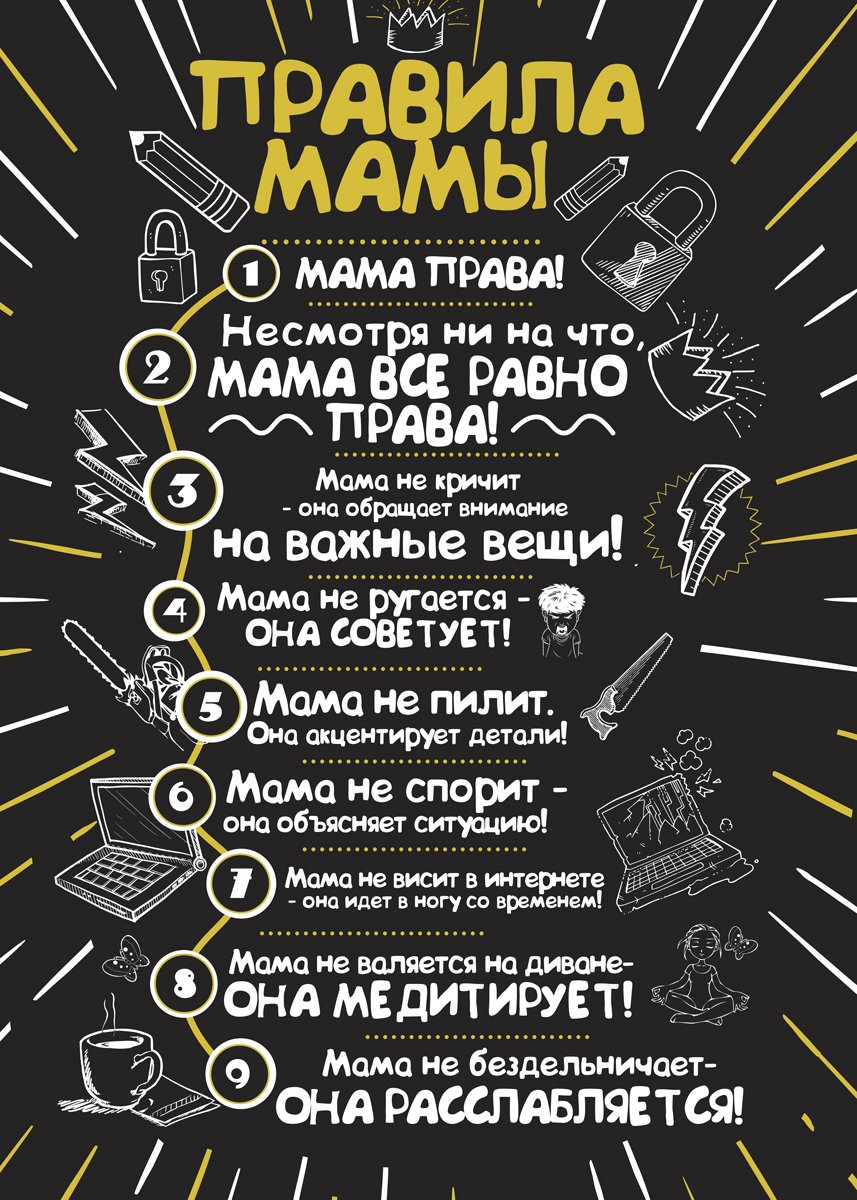 Картина на холсте 50x70 Правила мамы 1 Ekoramka HE-101-286