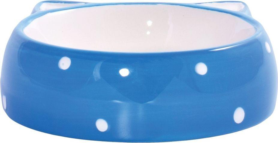 Миска для кошек КерамикАрт Мордочка кошки, керамическая, голубая, 250мл