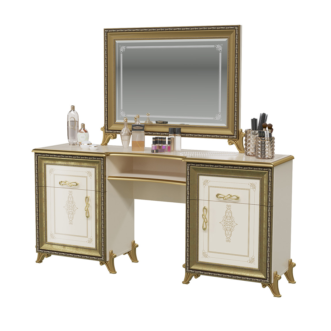 Стол туалетный с зеркалом Мэри-Мебель Версаль СВ-07+СВ-08 слоновая кость, 167х43х163 см.