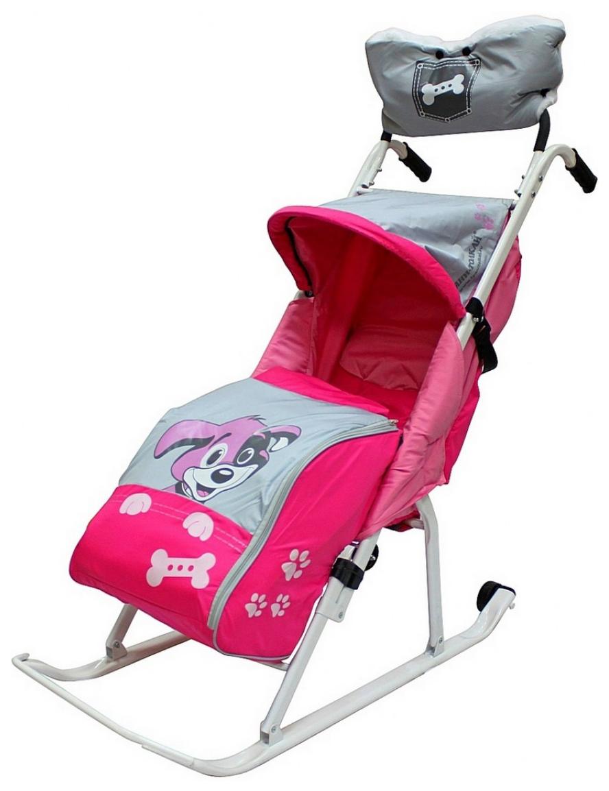 Санки-коляска RT Комфорт Люкс 11 Любопытный щенок с колесиками и муфтой Розовый