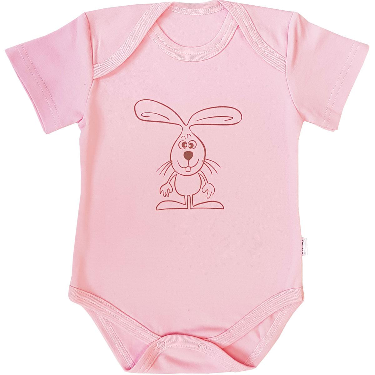 Купить Боди Папитто капелька Зайка, интерлок розовый р.24-86 37-817, Боди и песочники для малышей